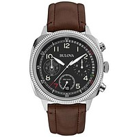Bulova Mens UHF Military Chronograph - Manchester United - Brown Leather Strap