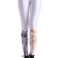 ROMWE | Cute Cats Print White Leggings, The Latest Street Fashion