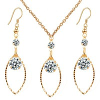 Promotion Women Popular Gold Plated Crystal Rhinestone Eye Drop Earrings Necklace Set Fashion Jewelry Sets Accessories 2016