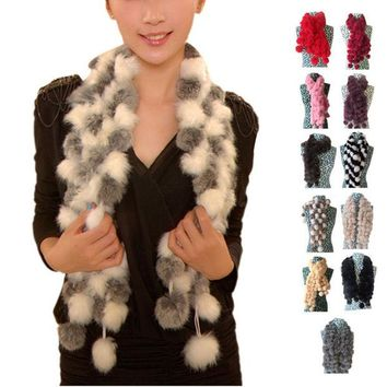 ONETOW 2016 New Women Winter Imitate Rabbit Fur Scarf Lady Casual Fur Warm Scarves Fur Ball Velvet Rabbit Long Style Scarves Bufandas
