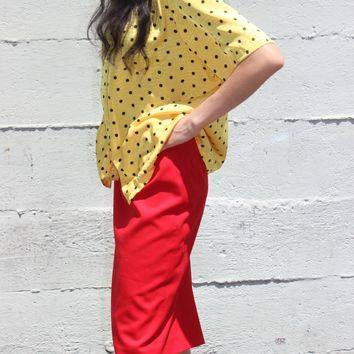 yellow polka dots shirt oversized slouchy shirt button down blouse fun multicolor blouse S M L