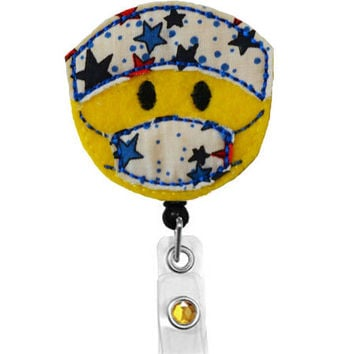 Star Spangled Surgeon-Name Badge Holder -Surgical nurse badge holder-anesthesiologist Badge-Scrub nurse -Retractable