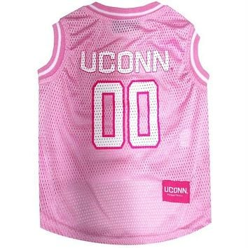 UConn Huskies Pet Pink Basketball Jersey