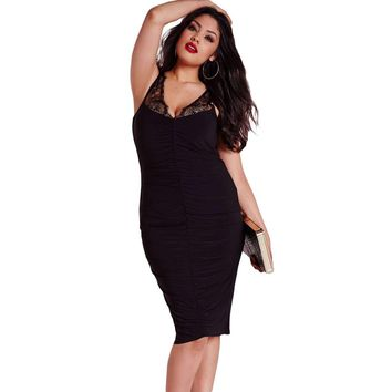 Black Plus Size Slinky Lace Ruched Dress