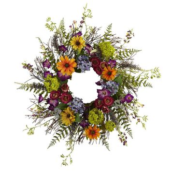 Silk Flowers -24 Inch Spring Garden Wreath With Twig Base Artificial Plant