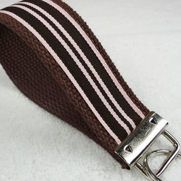 Keychain Wristlet Keyfob Keylette Key Ring - Stripes Striped Grosgrain Ribbon Webbing Brown Pink Party Favor - Porte-clés - Ready to ship