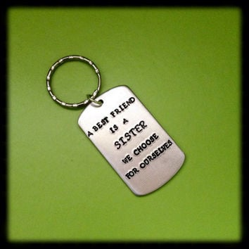 Best friend keychain. Best friend gift. Hamdstamped key chain. Personalized gift.