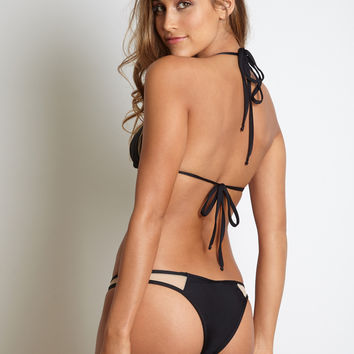 Kai Lani Swimwear Mesh Bottom in Black- Large- Final Sale