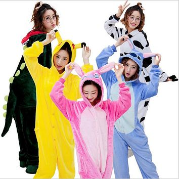 Hot Sale Unisex Flannel Lovers Couples Animal Pajamas One Piece Cartoon Cosplay Pajama Costume Adult Unicorn Pajama Sleepwear