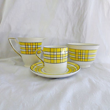 Art Deco  Yellow Plaid Cup Saucer Creamer Sugar Set Crown Devon