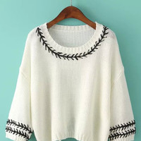 Edge Lace Tie Long Sleeve Knitted Sweater