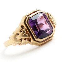 Antique 10k Gold Purple Stone Ring - Art Deco Size 5 1/2 Vintage Fine Jewelry / Emerald Cut Amethyst Purple