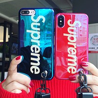 Supreme Popular logo blue ray laser iphonex cell phone case Blue Red