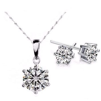 18K White Gold Plated Splendid Solitaires Round IOBI Crystals 2CT Necklace and 1CT Earrings Set