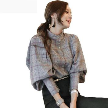 ONETOW Women back bow tie slim lantern sleeve blouses plaid top work business runway blouses
