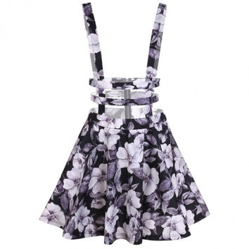 Women Fashion Floral Zipper Back Hollow Out A-Line Suspender Skirt