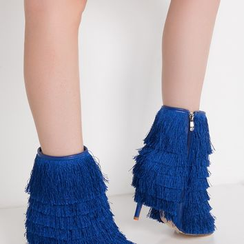 Cape Robbin Zip Up Fringe Open Toe High Stiletto Booties in Red, Blue