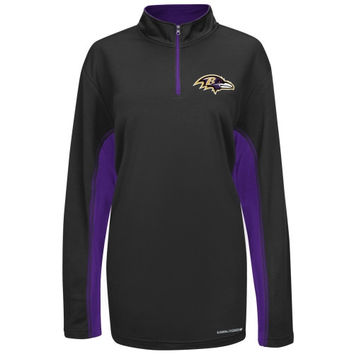 Baltimore Ravens Majestic Defending Zone Cool Base Quarter Zip Jacket - Black