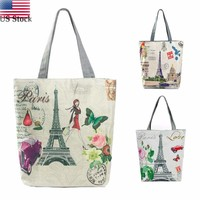 Women Zipper Paris Tower Canvas Tote Casual Beach Bags Shopping Bag Handbags US