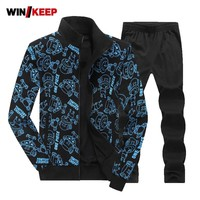 Hot 2018 Men Sport Suit Autumn Winter Large Size 6XL 7XL 8XL Warm Knitted Tracksuits Printing Design Male Fitness Jogging Sets
