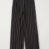 Wide-cut Jersey Pants - Black/white striped - Ladies | H&M US