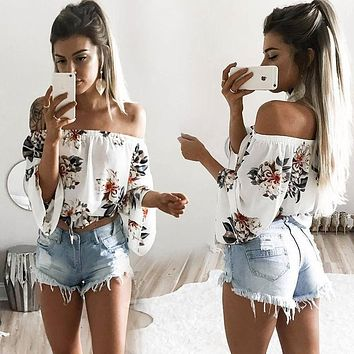 Summer Women Floral Vest Top Tank Casual Blouse Top Off Shoulder Costume