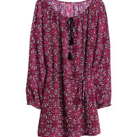 H&M - Patterned Tunic - Burgundy/patterned - Ladies