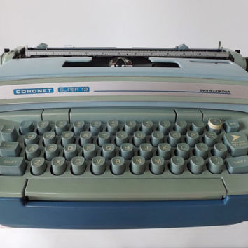 Vintage Typewriter / Smith Corona/ Coronet Super 12 / Blue Typewriter / Working Typewriter / Includes Hard Plastic Case/Made in The USA