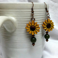 Sunflower Earrings Sunflower Jewelry by KikiCloset on Etsy