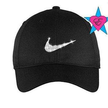 Bling Clear Crystal Nike Hat Black Cap