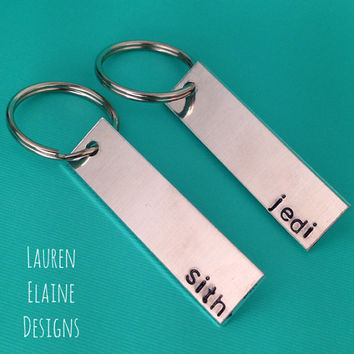 Jedi, Sith- Star Wars Inspired -Custom Hand Stamped Keychain Set- Personalize with Your Own Font Choice