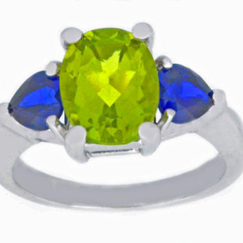4 Ct Peridot Oval & Blue Sapphire Heart Ring .925 Sterling Silver Rhodium Finish