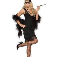 Sexy Women's Black Dress with V Neckline Golden Age Flapper Halloween Costume