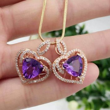 Natural amethyst pendant S925 silver Natural gemstone Pendant Necklace trendy Elegant Heart-shaped women fine jewelry