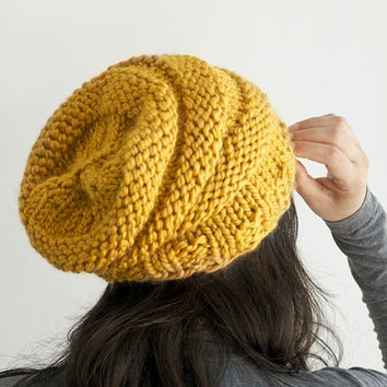 Hand knit hat, slouchy beanie hat in Mustard Yellow color, unisex knitted slouch hat, adult size