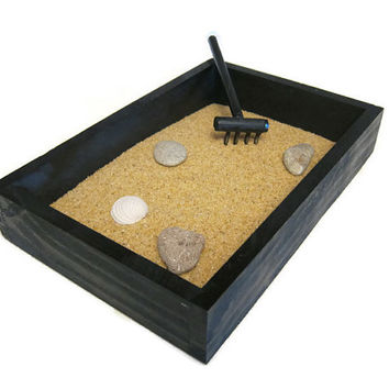 Zen Garden Desk Decor - Office Accessories Tabletop Decor Mini Garden - Gifts for Dad Gift for Teachers Coworker Gifts - Natural Decor