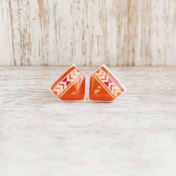 Vermillion Pueblo Post Earrings - Hypoallergenic Surgical Stainless Steel Posts - Orange Tribal Chevron Post Earrings