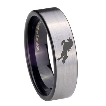 8MM Silver Black Horse Pipe Cut Tungsten Carbide Laser Engraved Ring