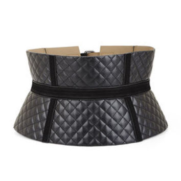 Black BCBG Quilted Diamonds Corset Waist Belt
