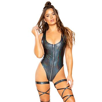 Sexy The Banger Snakeskin Zipper Romper