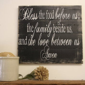 Bless The Food Before Us Wood Sign Kitchen Sign Dining Room Sign Wood Pallet Sign Housewarming Gift Wedding Gift Rustic Chic Decor Black