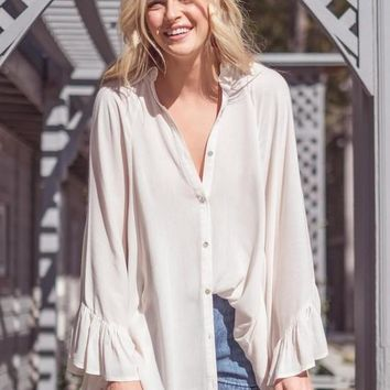 Oversized Button Down Ruffle Sleeve Top
