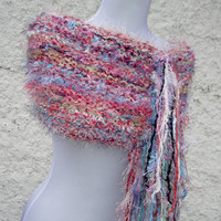 Pink Hand Knit Cowl with Fringe