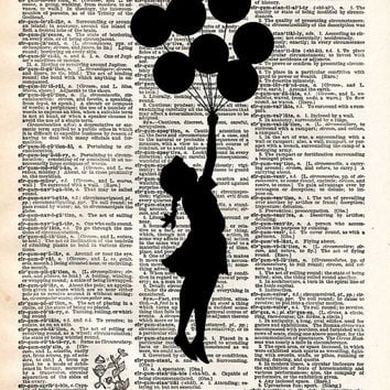 Banksy Girl with Balloons street art vintage dictionary page book art print