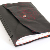 Leather Book- Black and Red Circles-- christmasinjuly
