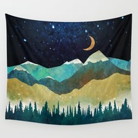 Snowy Night Wall Tapestry by spacefrogdesigns