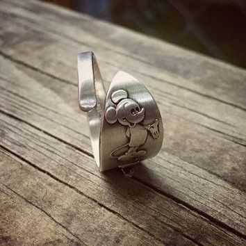 Vintage Mickey Mouse Disneyland Sterling Spoon Ring