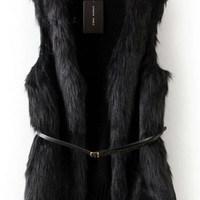 Black Furry Vest