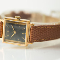 Square women's watch gold plated women's watch Ray feminine wrist watch accessory lady dark grey face watch premium leather strap new