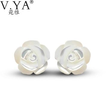 Popular Shell  Real 925 Sterling Silver Earrings for Women Jewelry Luxury Camellia Stud Earring CE113